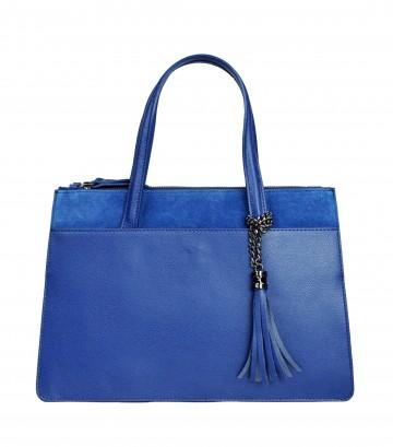 Italská kožená kabelka VALERIE - Modrá