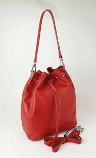 Dámská kožená kabelka FACEBAG HARVY - Červená hladká