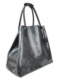 Dámská kožená kabelka FACEBAG MEDA - Černá lak s hadím vzorem