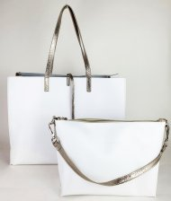Dámská kožená kabelka FACEBAG 2v1 CHERI 1 - Bílá + zlatá *ruga*