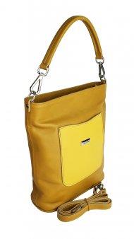 Dámská kožená kabelka FACEBAG LINA - Tmavá žlutá hladká