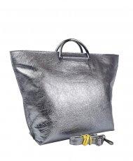Dámská kožená kabelka FACEBAG TALIA - Tmavá stříbrná hladká