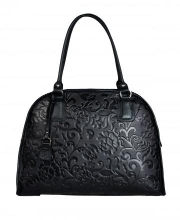 Dámská kožená kabelka FACEBAG RITA - Černá se vzorem květin
