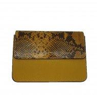 Dámská italská kožená kabelka 3298 - Tmavá žlutá s hadím vzorem