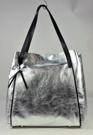 Dámská kožená kabelka FACEBAG MONA - Stříbrná