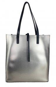 Dámská kožená kabelka FACEBAG REIMS - Tmavá stříbrná + černá *ruga*