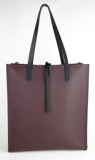 Dámská kožená kabelka FACEBAG REIMS - Vínová + černá *palmelato*