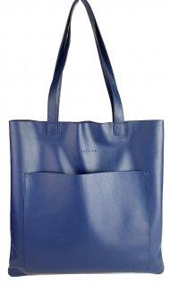 Dámská kožená kabelka FACEBAG ELSA 1 - Tmavá modrá hladká