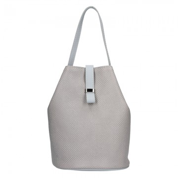 Dámská kožená kabelka FACEBAG KUKY - Perfor šedá