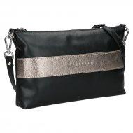 Dámská kožená kabelka FACEBAG MARY - Černá + zlatá