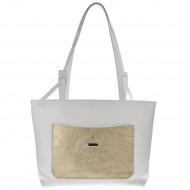Dámská kožená kabelka FACEBAG SACCIA - Bílá se zlatou kapsou