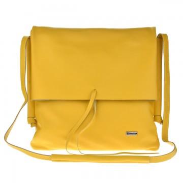 Dámská kožená kabelka FACEBAG SANDRA - Žlutá