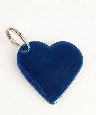 Kožený přívěsek srdíčko FACEBAG - Modrá lak