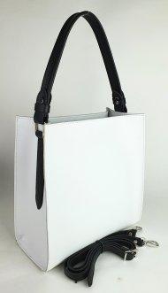 Dámská kožená kabelka FACEBAG ANGE - Bílá + černá *palmelato*