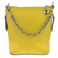 Dámská kožená kabelka FACEBAG EMMA I - žlutá