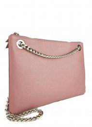 Elegantní dámská kožená kabelka FACEBAG ERIN - Starorůžová *dolaro* s kováním ve stříbrné barvě