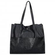 Dámská kožená kabelka FACEBAG LIMOSA - Černá v kombinaci s hadím vzorem