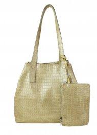 Dámská kožená kabelka FACEBAG HOLLY - Béžová kroko lak
