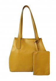 Dámská kožená kabelka FACEBAG HOLLY - Tmavá žlutá hladká