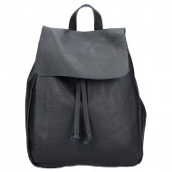 Dámský italský kožený batoh DAVIDE - Černá