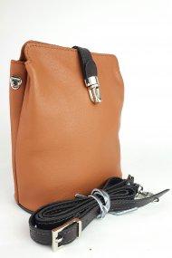 Dámská kožená kabelka FACEBAG ANNA S. - Cuoio + tmavá hnědá hladká
