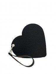 Elegantní dámské kožené psaníčko do ruky FACEBAG srdce - Černá + vínová