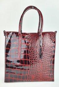 Dámská italská kožená kabelka 113105 - Vínová *kroko* lak