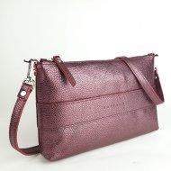 Dámská kožená kabelka FACEBAG MARY - Metalická vínová *dolaro*