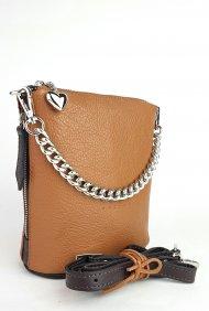Dámská kožená kabelka FACEBAG EMMA I. - Cuoio + tmavá hnědá *dolaro*