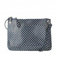 Dámská kožená kabelka FACEBAG - CANNET - Modrá s bílými puntíky