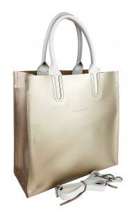 Dámská kožená kabelka FACEBAG CONTES - Zlatá + béžová *ruga*