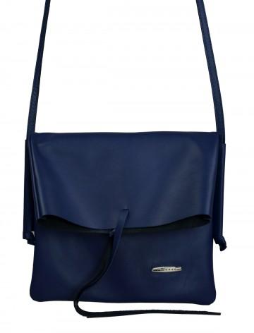 Dámská kožená kabelka FACEBAG NICOLA - Modrá hladká
