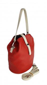 Dámská kožená kabelka FACEBAG KUKY - Červená + béžová *dolaro*
