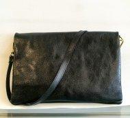 Dámská italská kožená kabelka 3050 - Černá lesklá