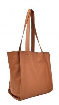 Dámská kožená kabelka FACEBAG BELLA - Cuoio *hladká*