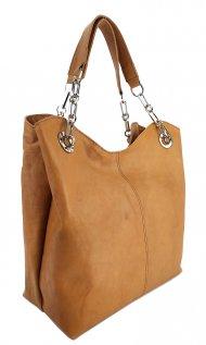 Dámská kožená kabelka FACEBAG AGATA - Přírodní hnědá světlá
