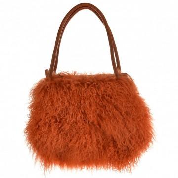 Italská kabelka DANIELA - Oranžová umělá kožešina