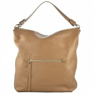 Dámská kožená kabelka FACEBAG CHIARA - Béžová