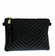 Dámská kožená kabelka - psaníčko prošívané 2934  černé
