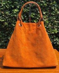 Dámská italská kožená kabelka 3970 - Oranžová