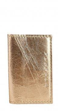 Kožené pouzdro na doklady FACEBAG 115057 - Metalická růžová