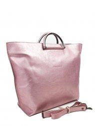 Dámská kožená kabelka FACEBAG TALIA - Metalická růžová