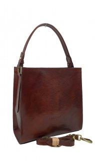 Dámská kožená kabelka FACEBAG ANGE - Tmavá hnědá *vintage*