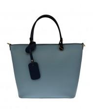 Dámská italská kožená kabelka CERA - Světlá modrá