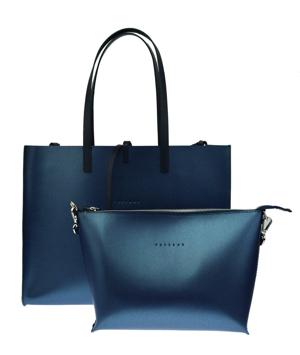 Dámská kožená kabelka FACEBAG 2v1 CHERI 1 - Metalická modrá
