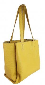 Dámská kožená kabelka FACEBAG BELLA - Žlutá *dolaro*