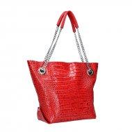 Dámská kožená kabelka FACEBAG DORIS 1 - Červená kroko lak