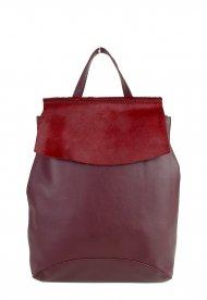 Designový kožený batůžek FACEBAG KENNY 8018 - Vínová hladká + vínová srst