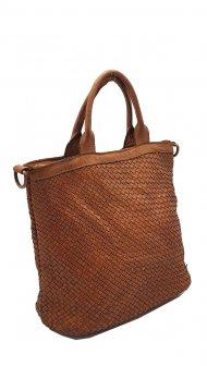 Kožená kabelka 5998 tmavá cuoio vintage