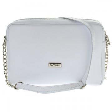 Dámská kožená kabelka FACEBAG CASSETTA - Bílá